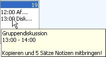 Popupfenster mit den Informationen zu einem Termin
