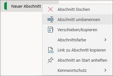 Screenshot des Kontextmenüs für das Umbenennen einer Abschnittsregisterkarte in OneNote für Windows 10.