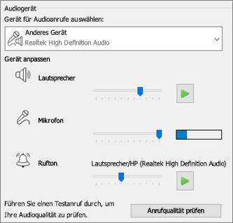 Benutzerdefinierte Einstellungen – Lautsprecher, Mikrofon, Rufton – für Audiogerät