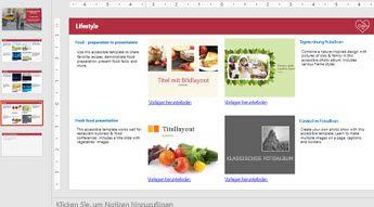 Bildschirmpräsentation mit Abbildungen von vier barrierefreien Vorlagen und anderen Folien