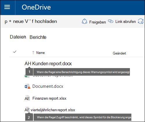 Richtlinie Tipp Symbole auf Dokumente in einer OneDrive-Konto