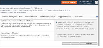 Seite 'Einstellungen für Datensatzdeklaration' für Bibliothek