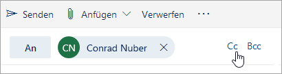 """Screenshot der Schaltflächen """"Cc"""" und """"Bcc"""""""