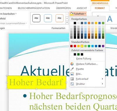 Textfeld mit dem Text erstellen, der farbig hervorgehoben werden soll, und zum Auswählen der Farbe 'Fülleffekt' verwenden