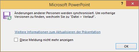 """Abbildung der Meldung """"Änderungen synchronisiert"""" in PowerPoint"""