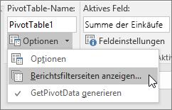 """Option """"Berichtsfilterseiten anzeigen"""""""