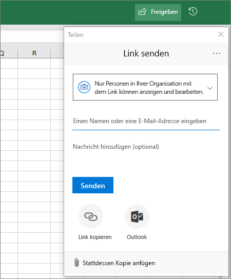 """Symbol und Dialogfeld """"Freigeben"""" in Excel"""