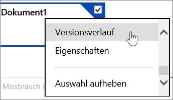 OneDrive-Menüoption für 'Versionsverlauf'