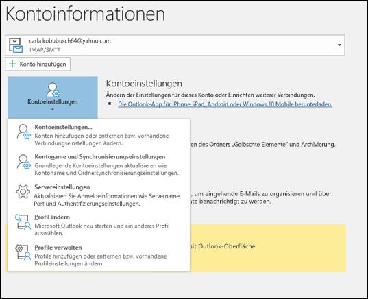 Sie verfügen über mehrere Typen von Kontoeinstellungen, die Sie in Outlook ändern können.