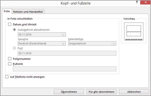 "Dialogfeld ""Kopf- und Fußzeile"""