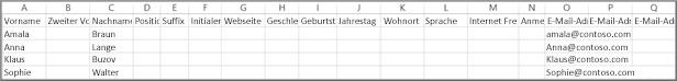 Eine aus Google exportierte Beispiel-CSV-Datei