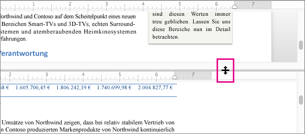 Sie können das Fenster teilen, um verschiedene Teile desselben Dokuments anzuzeigen. Und Sie können auch verschiedene Ansichten anzeigen.
