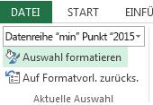 """""""Auswahl formatieren"""" befindet sich auf der Registerkarte """"Format""""."""