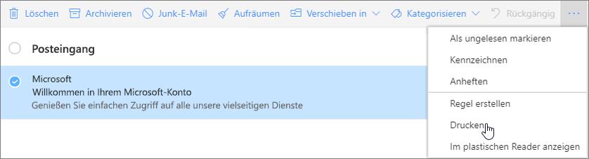 """Der Screenshot zeigt die ausgewählte Option """"Drucken"""" für eine E-Mail-Nachricht."""