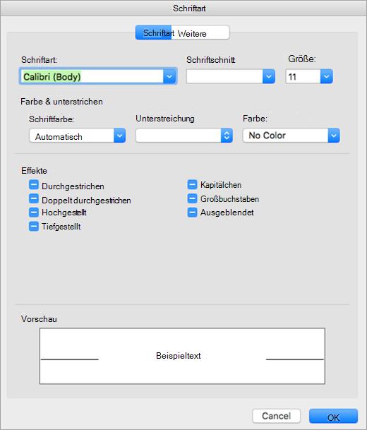 Zeigt die Registerkarte Schriftart des Dialogfelds Schriftart