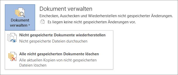 Verwalten von Dokumenten in Office 2016