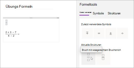 OneNote speichert die Symbole und Strukturen, die Sie vor kurzem ausgewählt haben. Wählen Sie zuletzt verwendet aus, um Sie anzuzeigen und zu verwenden.