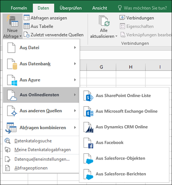 Excel Power BI-Menüoptionen für Online Services-Connectors