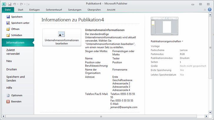 Unternehmensinformationen in der Backstage-Ansicht von Publisher 2010