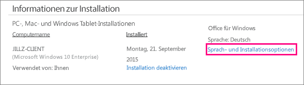 Zeigt den Link für Sprachen und Installationsoptionen in der Office 365-Kontoverwaltung an