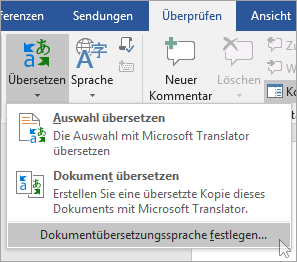 """Spracheinstellungen für """"Dokument übersetzen"""" im Menü """"Übersetzen"""""""