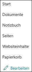 Linkes SharePoint-Menü