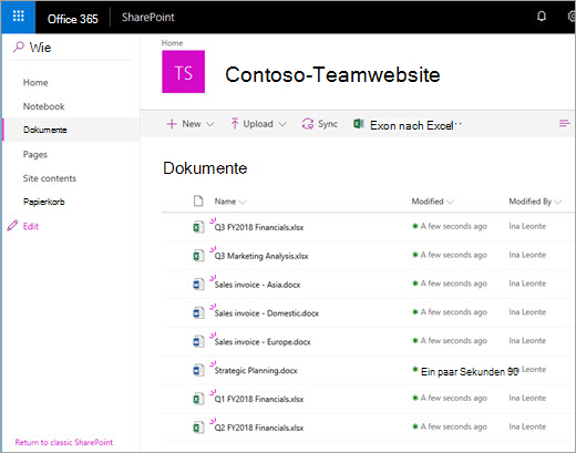 Office 365 SharePoint-Dokumentbibliothek - hochgeladene Dateien