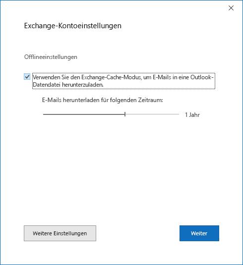 """Dialogfeld """"Konto einrichten"""", Seite """"Exchange-KontoEinstellungen"""""""