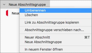 Umbenennen einer Abschnittsgruppe in OneNote für Mac