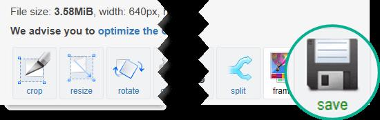 """Wählen Sie die Schaltfläche """"Speichern"""" aus, um die überarbeitete GIF-Datei wieder auf Ihren Computer zu kopieren."""