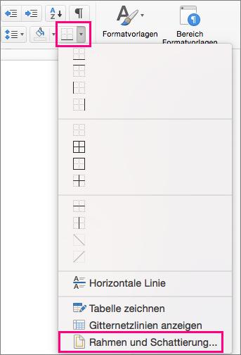 """Auf der Registerkarte """"Start"""" sind das Symbol """"Rahmen"""" und """"Rahmen und Schattierung"""" hervorgehoben."""
