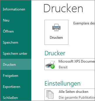 Screenshot der Druckoptionen in Publisher