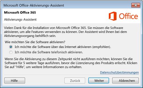 Zeigt den Aktivierungs-Assistenten für Office 365 an