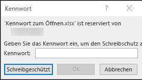Ändern einer geschützten Excel-Datei mit einem Kennwort