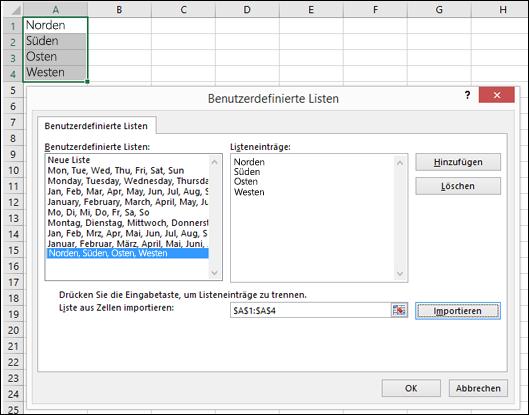 """Zugriff auf Dialogfeld """"Benutzerdefinierte Liste"""" über """"Datei"""" > """"Optionen"""" > """"Erweitert"""" > """"Allgemein"""" > """"Benutzerdefinierte Listen bearbeiten"""". In Excel 2007 klicken Sie auf die Office-Schaltfläche > """"Excel-Optionen"""" > """"Häufig verwendet"""" > """"Benutzerdefinierte Listen bearbeiten""""."""
