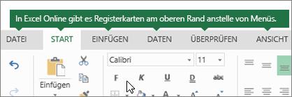 """Registerkarten """"Start"""", """"Einfügen"""", """"Daten"""" und """"Ansicht"""" in Excel Online"""