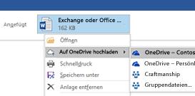 Hochladen von Outlook-Anlagen auf OneDrive