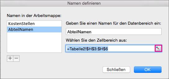 """Schaltfläche zum Reduzieren des Dialogfelds im Feld """"Name"""""""