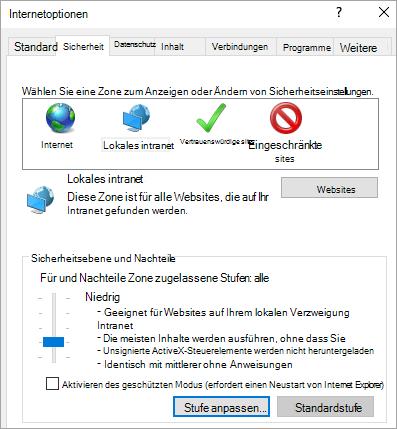 """Registerkarte """"Sicherheit"""" in den Internet Explorer-Optionen mit der Schaltfläche """"benutzerdefinierte Ebene"""""""