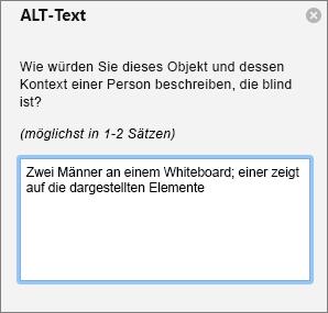 Alternativtextberiech beim Hinzufügen von alternativem Text zu einem Bild in Outlook.