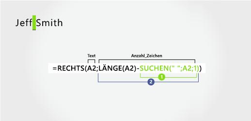 Formel zum Extrahieren eines Nachnamens