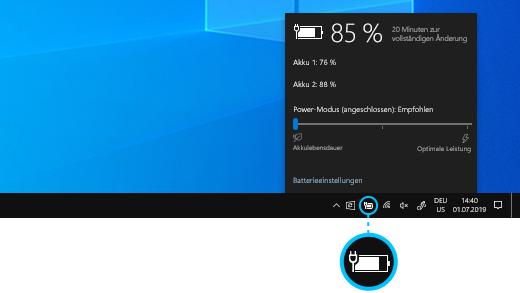 Surface Book-Akkustatus auf der Desktop-Taskleiste.