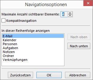 """Schnellzugriffsleiste, Dialogfeld """"Navigationsoptionen"""""""