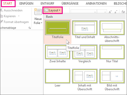 Folienlayouts auf der Registerkarte 'Start'
