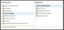 Über die Webpartauswahl können Sie zu dem Geschäftsaufgaben-Webpart navigieren, das Sie einfügen möchten.