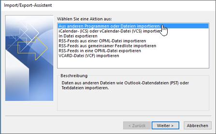 Import/Export-Assistent – Aus anderen Programmen oder Dateien importieren
