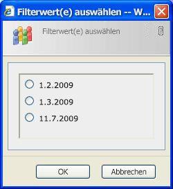 Das SharePoint-Listenfilter-Webpart zeigt eine Dialogseite mit eindeutigen Werten aus der Spalte an.