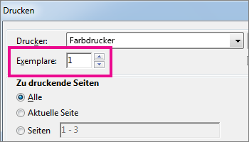 "Dialogfeld ""Drucker"" in Word Online"