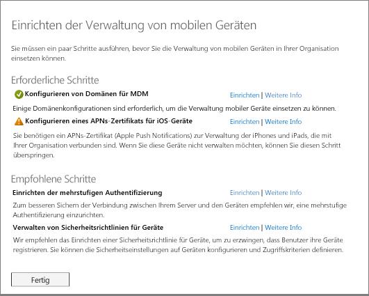 Einrichten der Verwaltung mobiler Geräten – Erforderliche und empfohlene Schritte