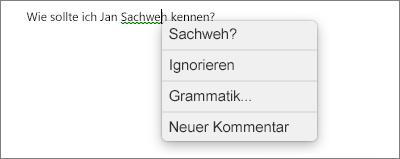 Grammatikfehler mit Kontextmenü, das Optionen für dessen Behebung enthält